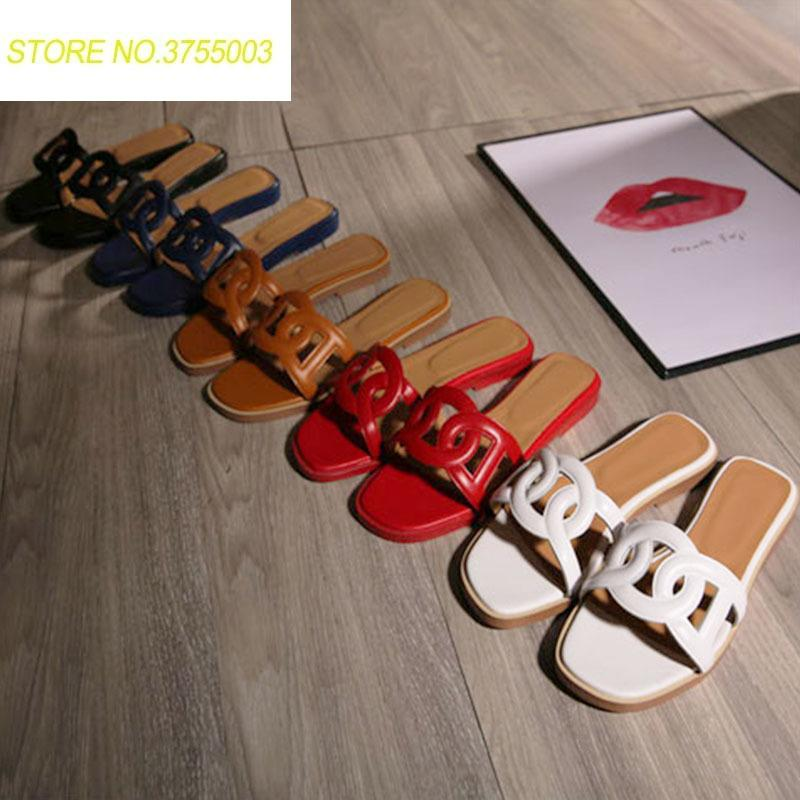 887ccda72c80 2018 Women Genuine Leather Luxury Brand New Slippers Cut out Summer ...