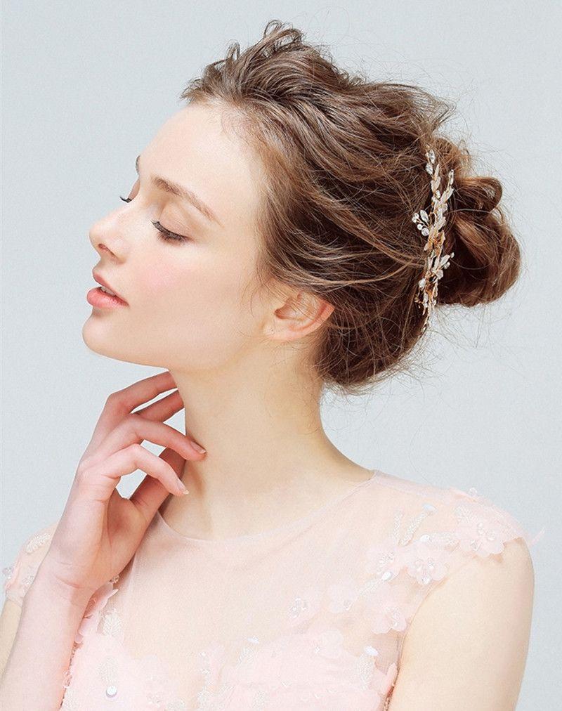 Elegant Headdress Flower Bridal Wedding Headpiece for Bride Crystal Women Handmake Gold Bridal Headpiece Fashion Hair Jewelry Accessories