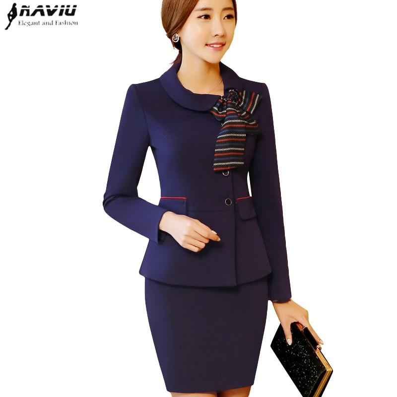 2019 Elegant Bow Women Skirt Suits Spring Formal Long Sleeve Slim