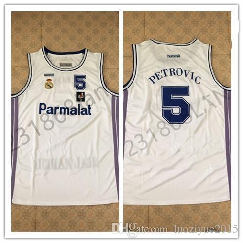 5cef569c5 Compre   5 Drazen Petrovic   10 Camiseta De Baloncesto Blanca Del Real  Madrid Para Hombres Puntadas De Bordado Personaliza Cualquier Tamaño Y  Nombre A  40.6 ...