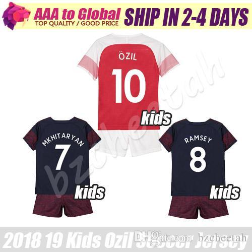 f952c6c85 2019 Kids Lacazette Jersey 2019 Child Ozil Football Shirts Ramsey  Mkhitaryan Aubameyang Young Soccer Jersey Kits 18 19 Children Soccer Sets  From Bzcheetah, ...