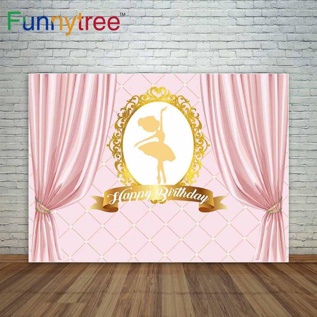 Fond D Anniversaire Ballerine Fille Fond Rose Rideaux Parti Décoration Un Appareil Photo Photographique Professionnel