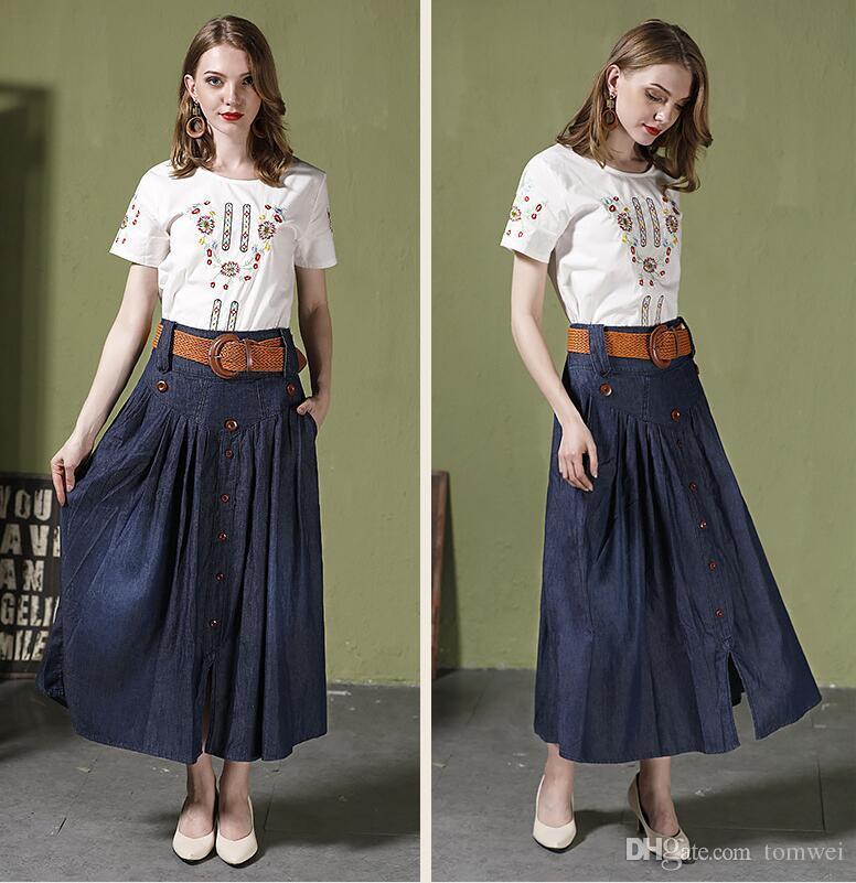 Cintura alta saias longas Mulheres Maxi Jeans Saias com cinto plissadas Denim Saias Botão Big Size S M L XL XXL 3XL 4XL 5XL 6XL 2018