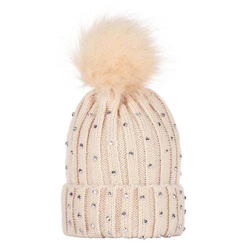68d143c137c 2019 Children Pom Pom Beanie Warm Knitted Bobble Kids Fur Pompom Hat  Children Real Raccoon Fur Pompon Sequins Winter Hat Cap From Bdsports