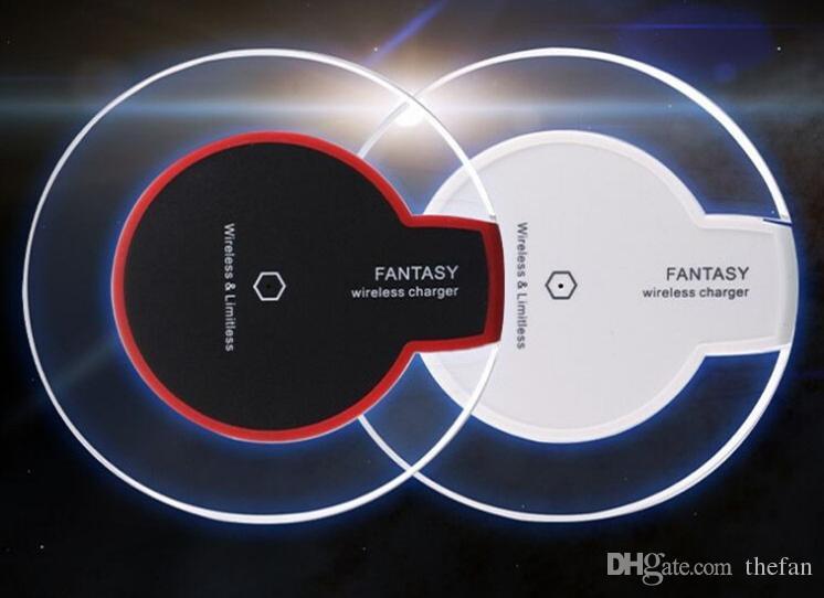 Qi Cargador de teléfono inalámbrico Pad Portable Fantasy Crystal LED Cargador de carga de iluminación Carga rápida para Iphone 8 X Samsung S8