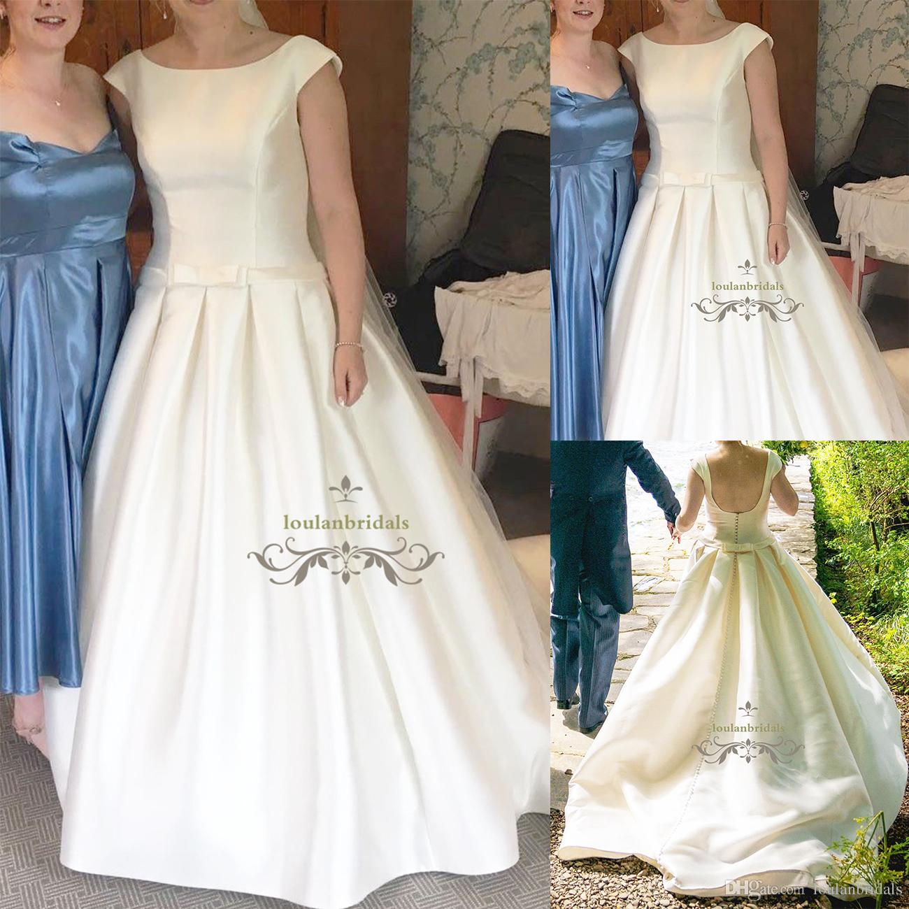 Ball Gown Drop Waist Box Pleat Skirt Wedding Dress Boat Neckline ...