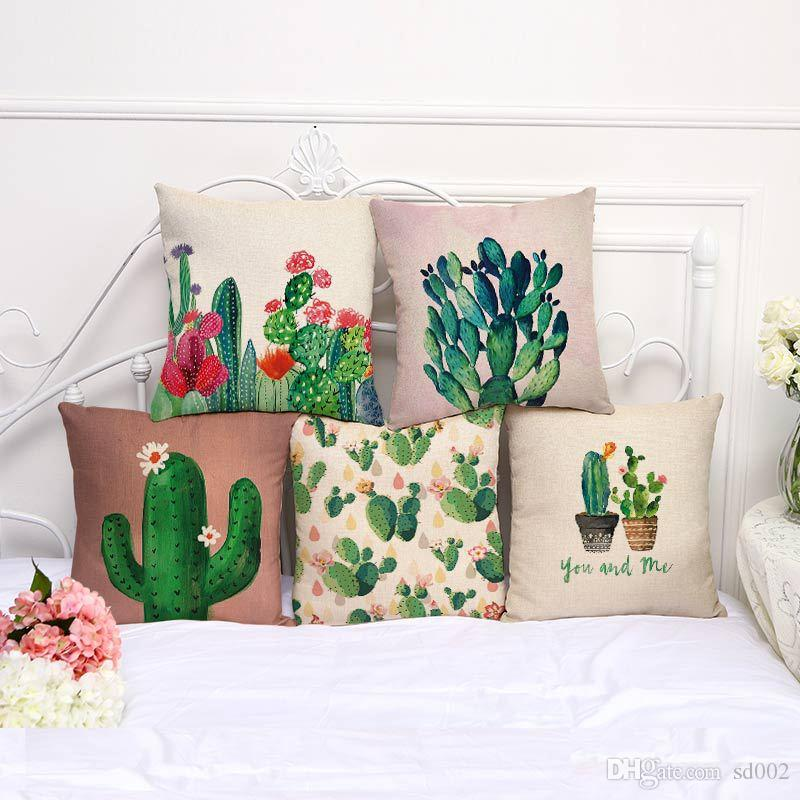 Plant Series Decorative Throw Pillows Color Hand Painted Cactus Pillow Case Cotton Linen Car Sofa Cushion Cover Home Textiles 9my bb