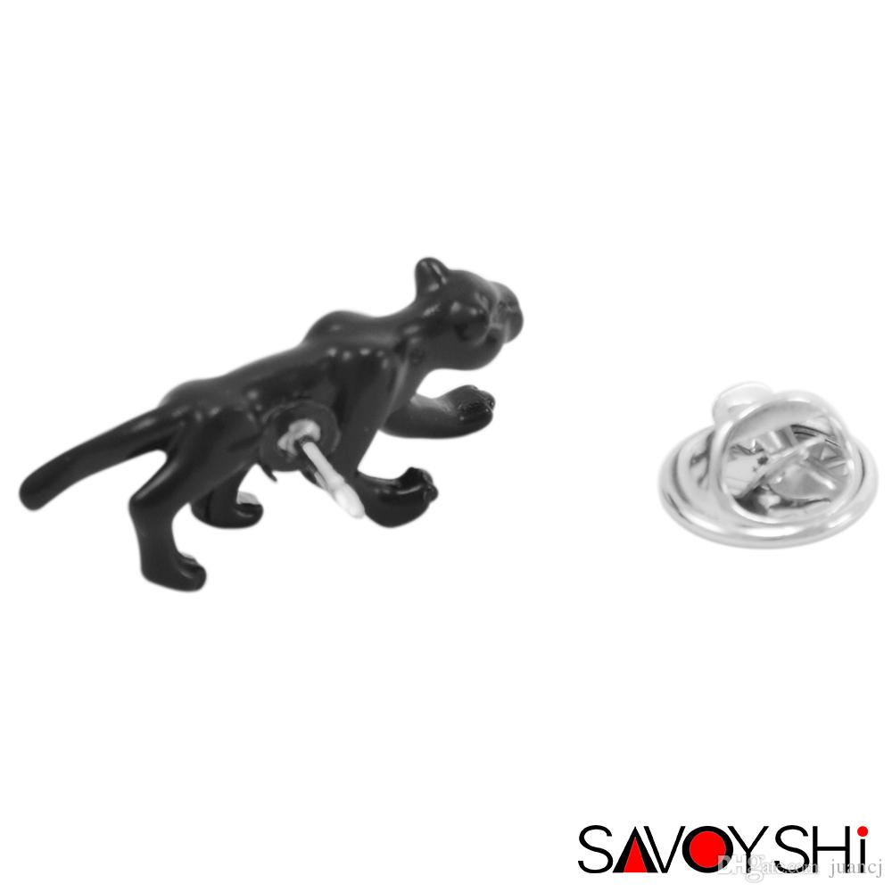 SAVOYSHI Black Leopard Design Men Lapel Pin Brooches Pins Fine Gift for Mens Brooches Collar Party Engagement Brand Jewelry