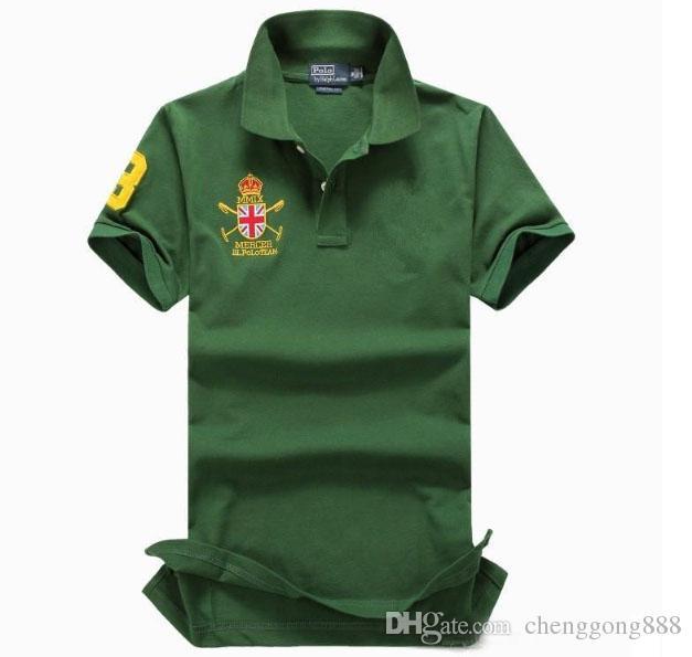 marca de ropa de los hombres del estilo del verano del caballo grande del bordado de manga corta de color soild camisas de polo de los hombres del algodón más tamaño 6XL buena calidad de la camisa de polo
