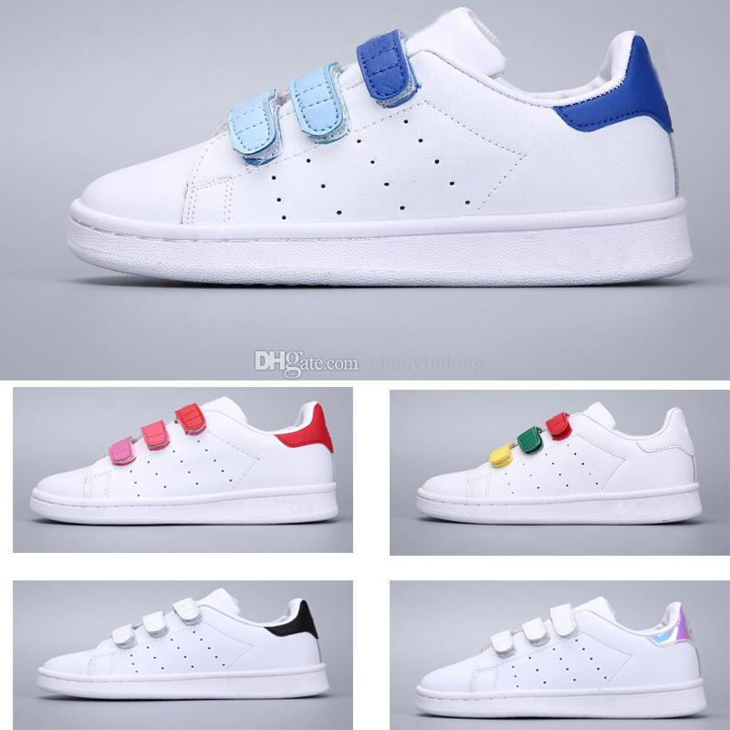 f160f72a7f4 Compre Adidas Stan Smith Superstar Primavera Outono Crianças Superstar  Shoes Moda Menina Causal Shoes Super Star Boy Running Sneakers Esportes  Crianças ...