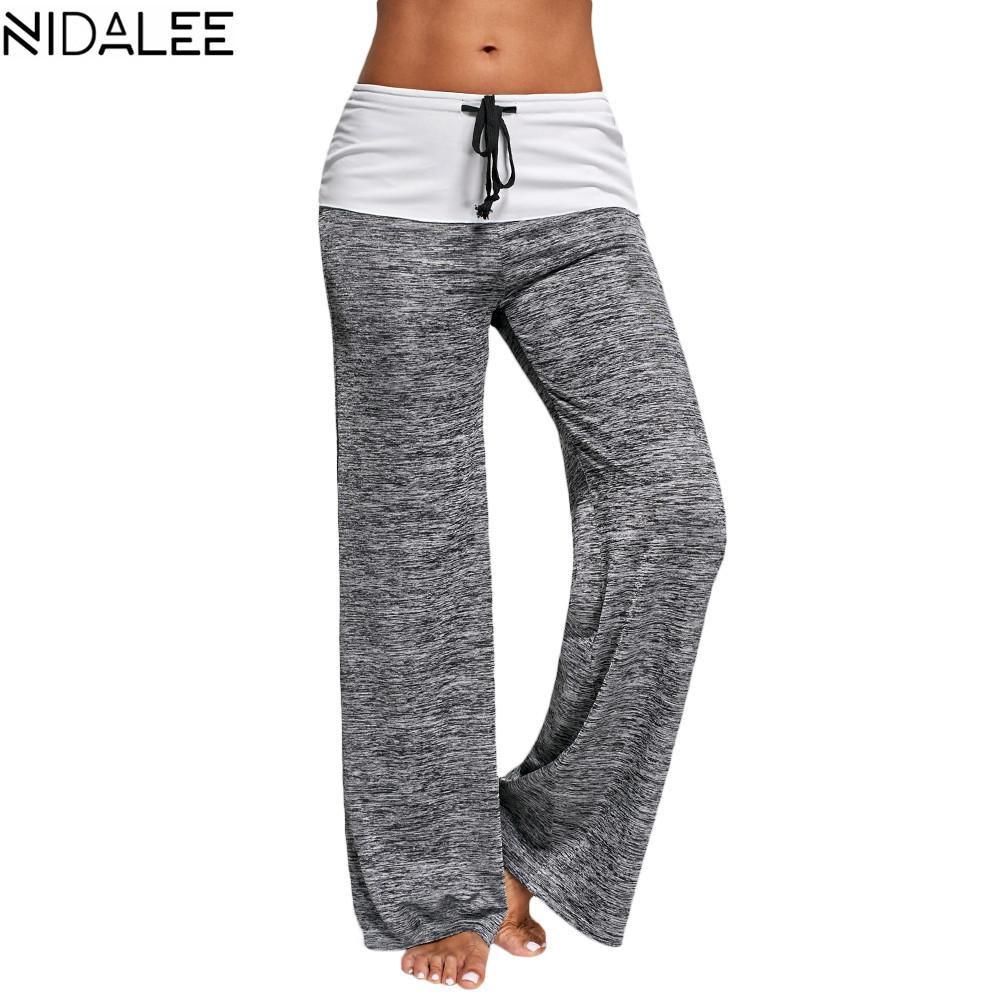 great prices amazing selection wholesale online NIDALEE Yoga Pants Women Running Jogging Fitness Leggings Fold Over Waist  Wide Leg Trousers Workout Fitted Athletic Pants XXL