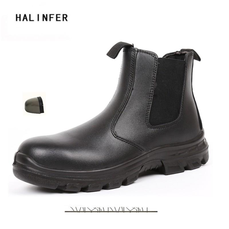 6e487986baa HALINFER Men Steel Toe Safety Work Shoes genuine leather spring autumn  Outdoor Casual shoes Anti-static puncture safety boots