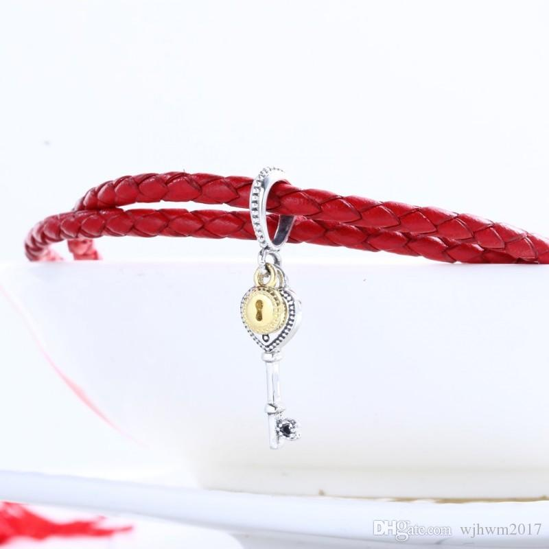 Valentine's day Gift Fits DIY Beads Bracelet 925 Sterling Silver 18K Gold-Plated Lock Heart Key Pendant Beads for Jewelry Making