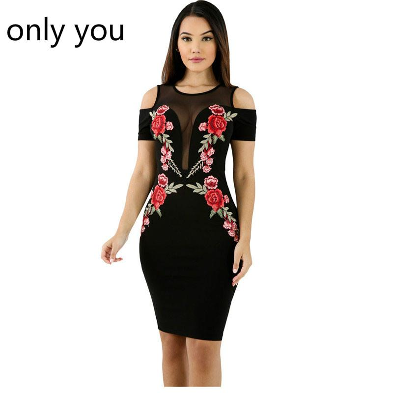 2019 Only You Black Dress Women Mesh Combine Embroidered Rose Cold
