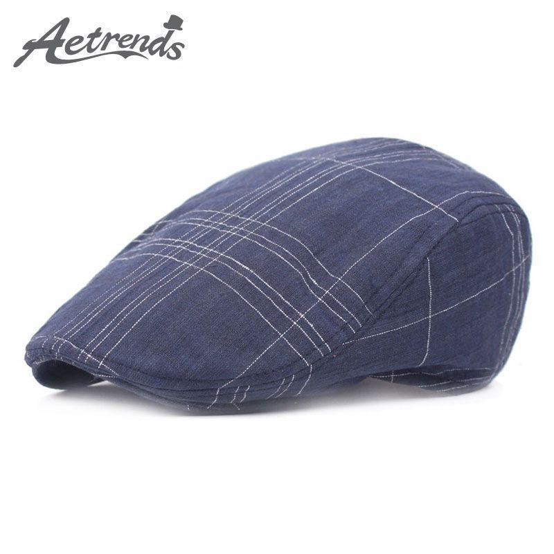 675e1e97a5f6 [AETRENDS] 2017 Gorras de algodón para hombre Gorras para hombres Gorra  plana Boinas sombreros Viseras de boina Retro Z-5241