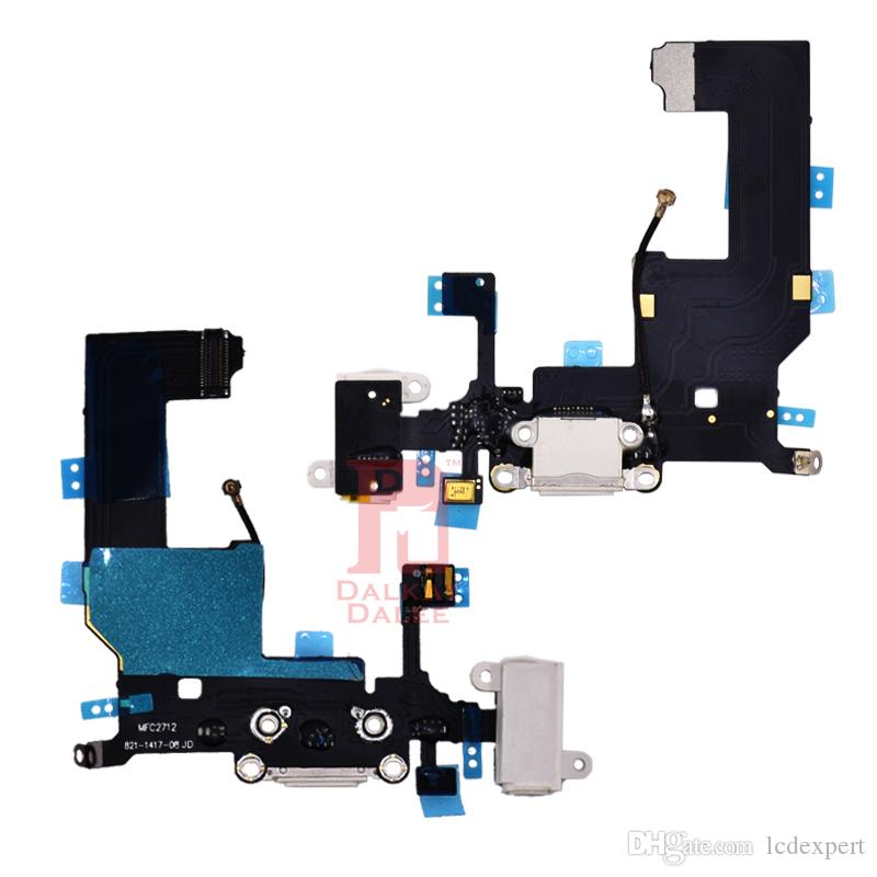 Charging Port Dock USB Connector Flex Cable For iPhone 5 Charger with Headphone Jack Mic Antenna Cable Audio Jack Mic Ribbon Replacement