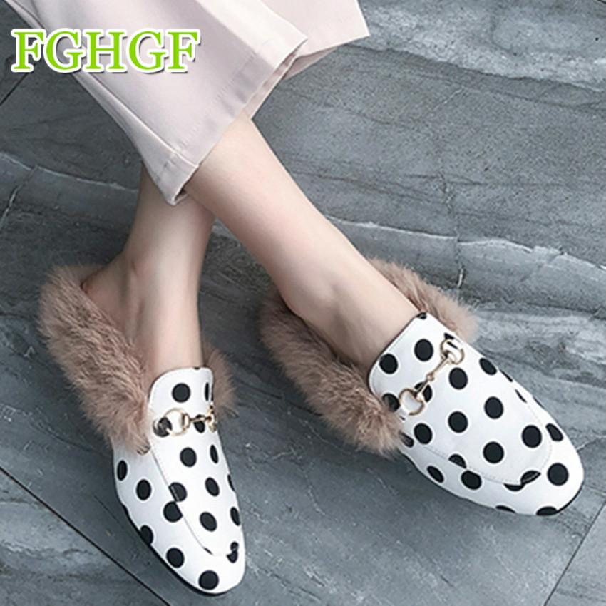 21e5fc2a0a5 Winter Women Fashion Fur Home Slippers Ladies House Flat Polka Dot Slippers  Indoor Bedroom Shoes Trendy Shoes 2018 Female Wedge Boots Boots Sale From  ...