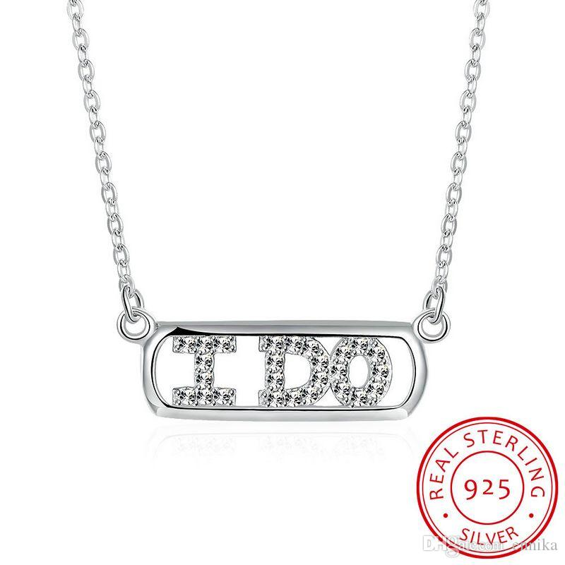 Sterling Silver 925 Chains Pandent Necklace Women Party Jewelry Pure Silver I DO Letter Necklace Pendant n062