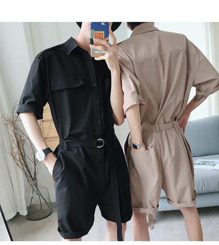 7ece8d464 2019 Summer Hip Hop Short Sleeve Rompers Male Loose Tooling Jumpsuit ...