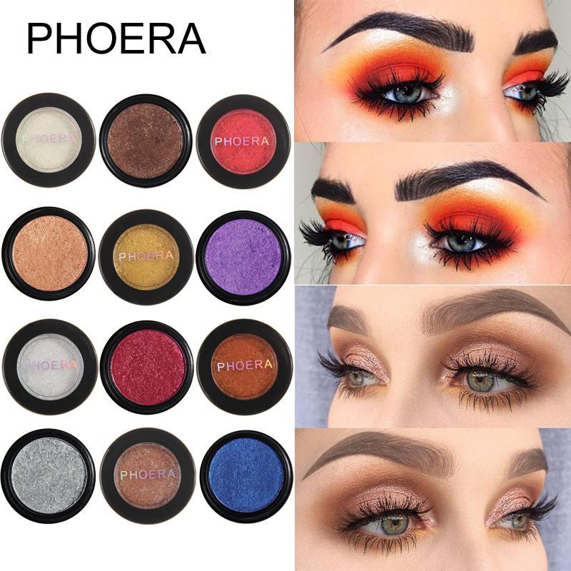 Phoera Glitter Metallic Eyeshadow Makeup Shimmer Eyeshadow Natural