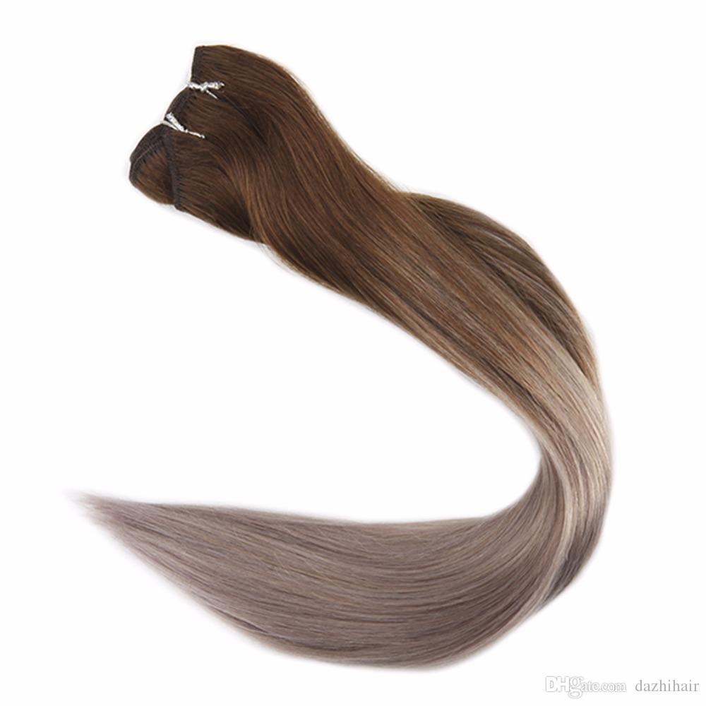 Human Hair Weft Remy Hair Bundles Ombre Color4 Chocolate Brown