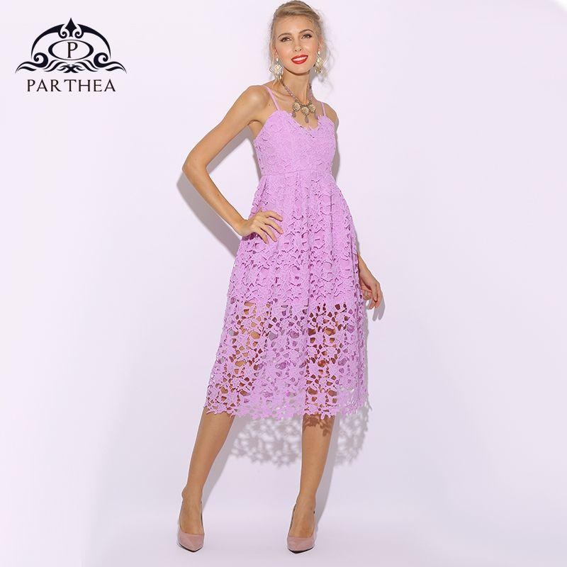 7c0da0a9a4cf Vestido de encaje de Parthea Mujeres Purple Office Lady Summer Dress  Vestidos de fiesta de Midi Elagant Floral Hollow Out Vestidos Verano 2018
