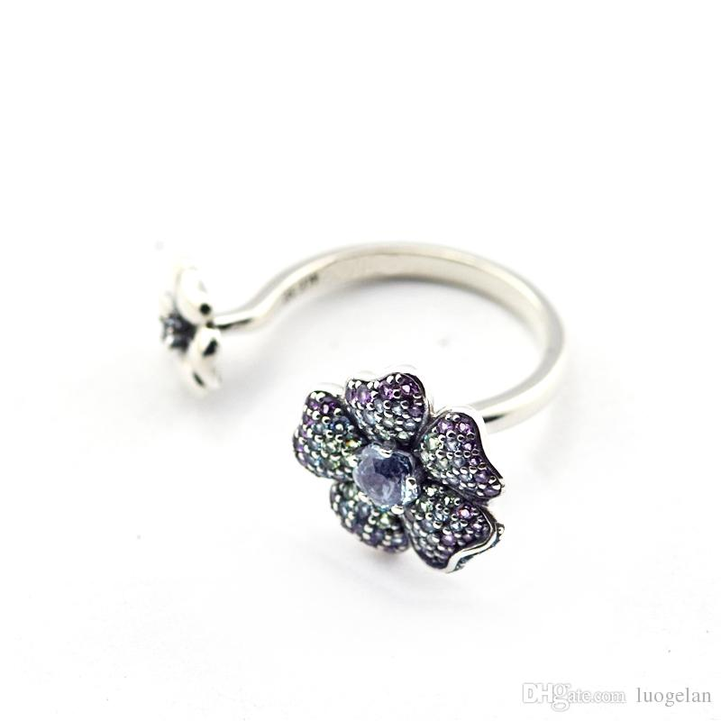 wholesale New Spring Glorius Blooms Zircon Rings flower wedding Ring for women 925 sterling silver fine jewelry anillos
