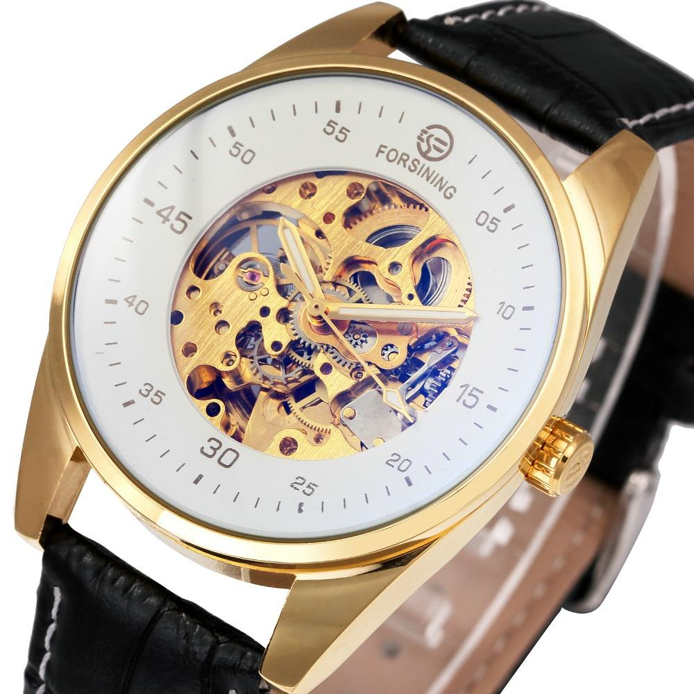 ForSinING Fashion Skeleton Automatic Mechanical Watches Uomo Blue-ray Mirror Leather Strap Top Marchio di lusso maschile orologio da polso