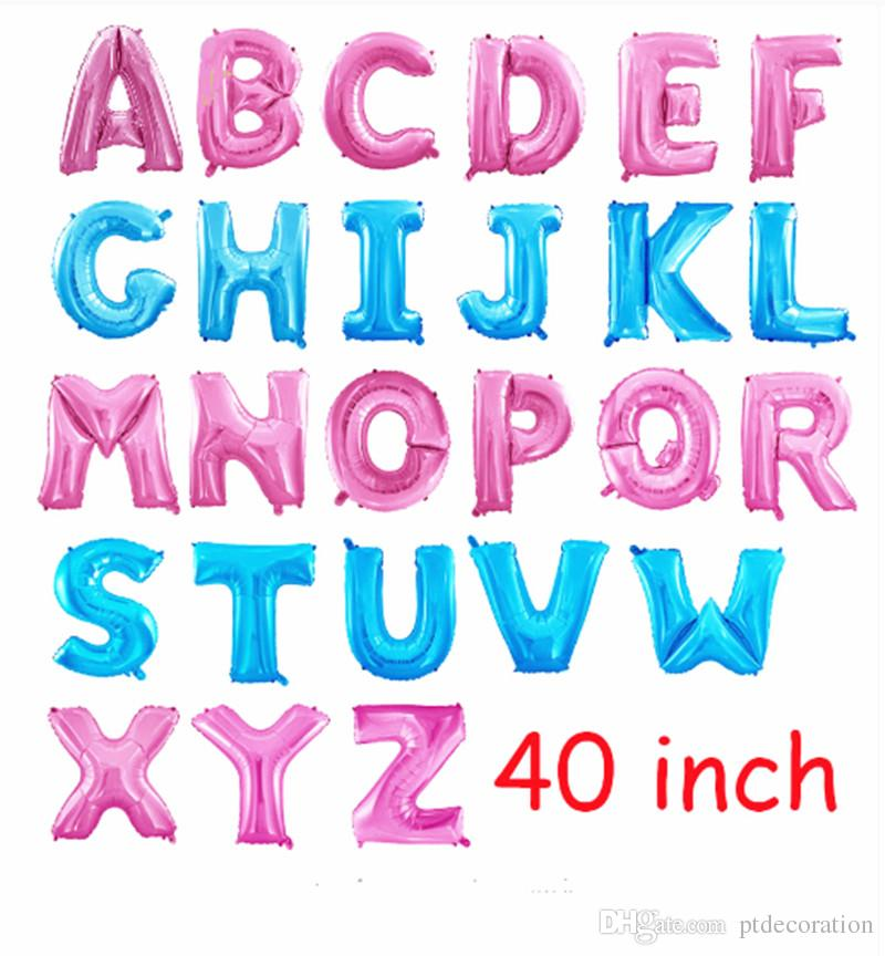 40 Inches Pink Blue Letter Foil Balloons Large Helium Birthday Party