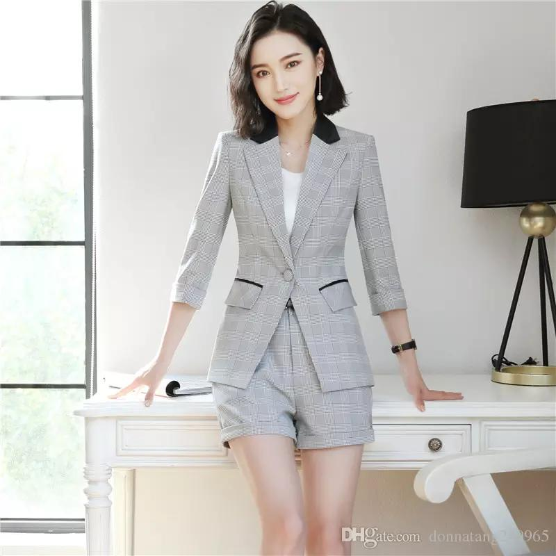 f452b22a0 2019 New Short Pant Suits Women Casual Plaid Stripe Office Business ...