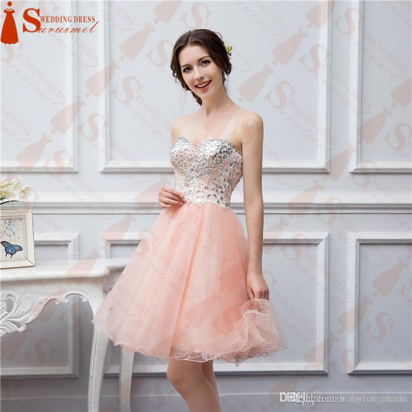 Homecoming Dresses 2018 Short Coral Prom Dresses Beaded Applique