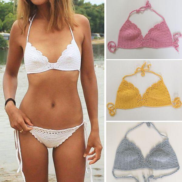 f7b5654a6764d 2019 Handmade Crochet Camisole Bikini, Knitted Crop Tops, Sexy Summer  Swimwear Bikini , Fashion Bra Tops From Momomi, $3.02 | DHgate.Com