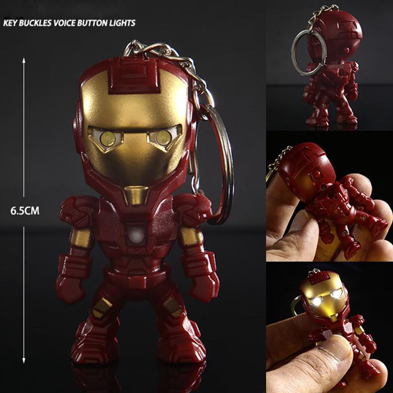 Classic Iron Man Pendant Keychain The  alliance LED keychain Mini PVC Action Figure with LED Light & Sound keyring ZKAM