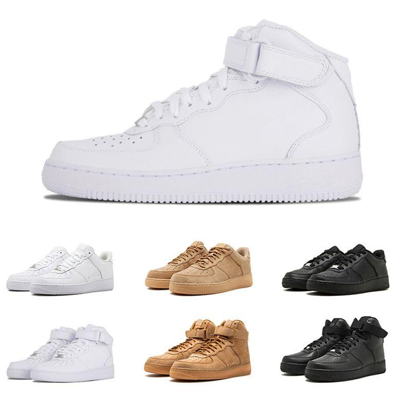 huge discount 7c405 0b60e Acheter Nike Air Force 1 Date Forcé Hommes Femmes Bas Noir Blanc Blé  Chaussures De Course Designer Causal Sport Baskets Formateur Sportif  Chaussures De ...