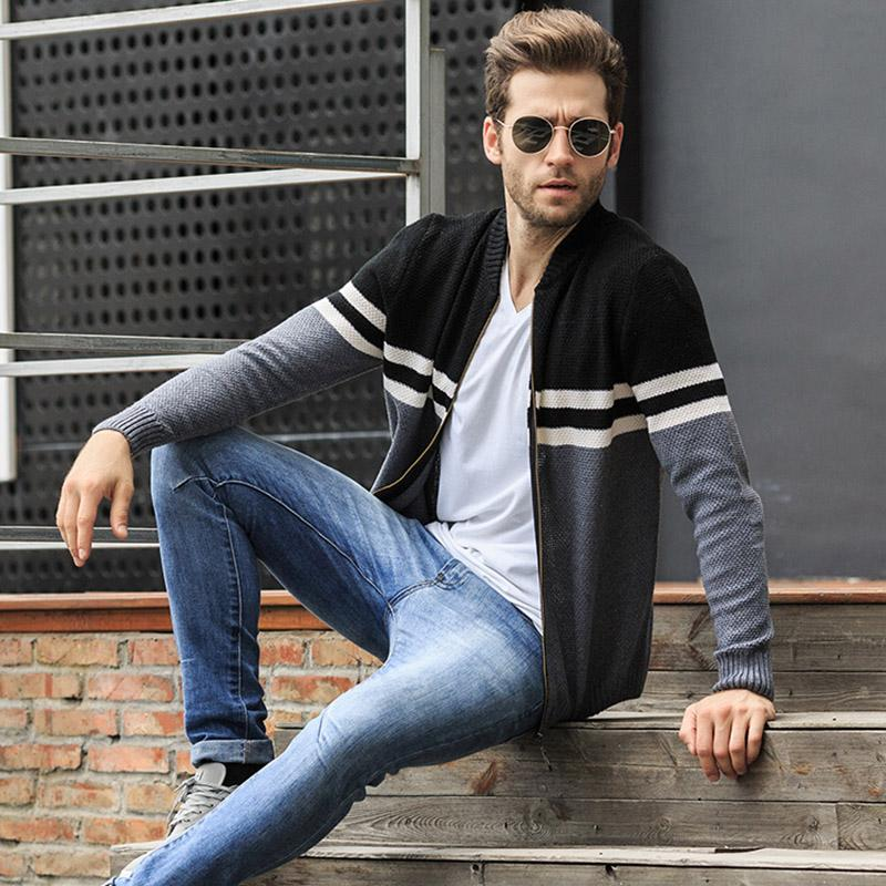 Hız Hiker Sonbahar Erkek Kazak Hırka 2017 Casual patchwork triko fermuar hırka En kaliteli moda Kazak ceket M-3XL