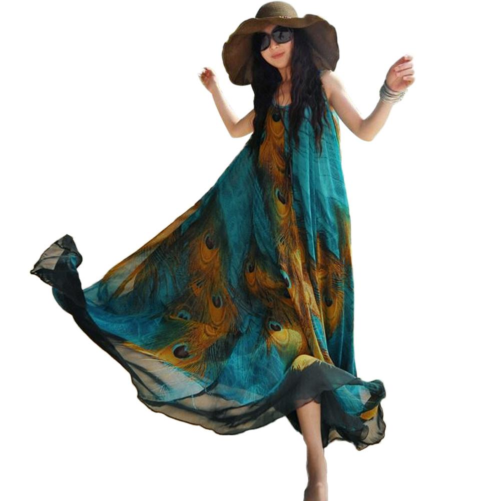 8c967e3e07f Women Sleeveless Chiffon Maxi Dress Peacock Feather Print Sash 5XL Plus Size  Clothing Casual Loose Swing Tunic Long Beach Dress Party Dress Gold Pink  Casual ...