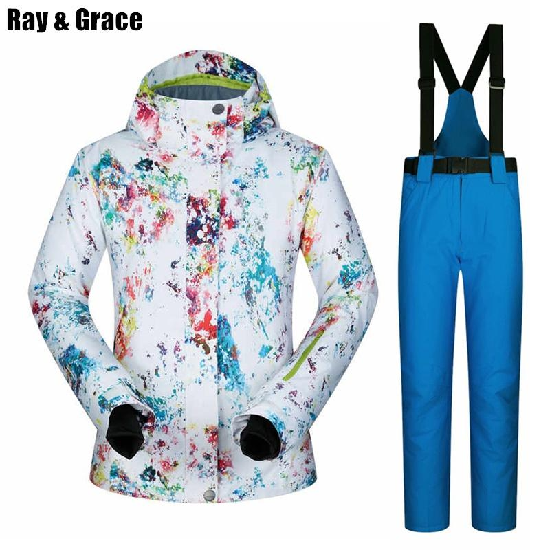 Ray Grace Impermeable Mujeres Mujer Chaqueta Nieve Pantalones Deportiva Snowboard Transpirable Esquí Traje Ropa Invierno Térmica De ZOkPiuX