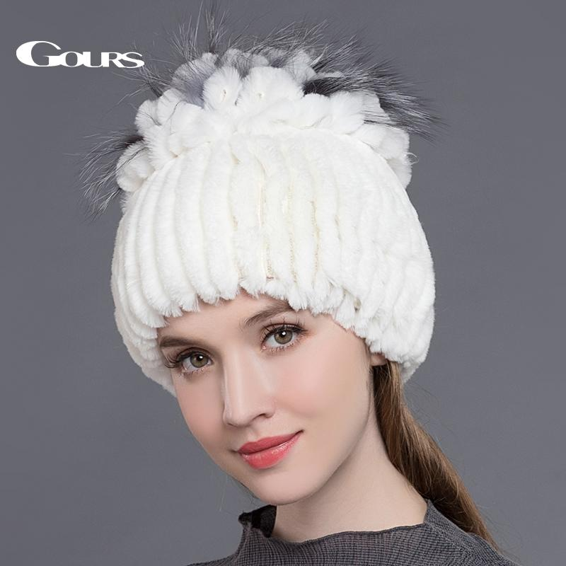7ea1d0796e99bc Gours Women's Fur Hats Natural Rex Rabbit Fox Fur Caps Winter Warm Russian  Ladies Fashion Brand High Quality Beanies New Arrival