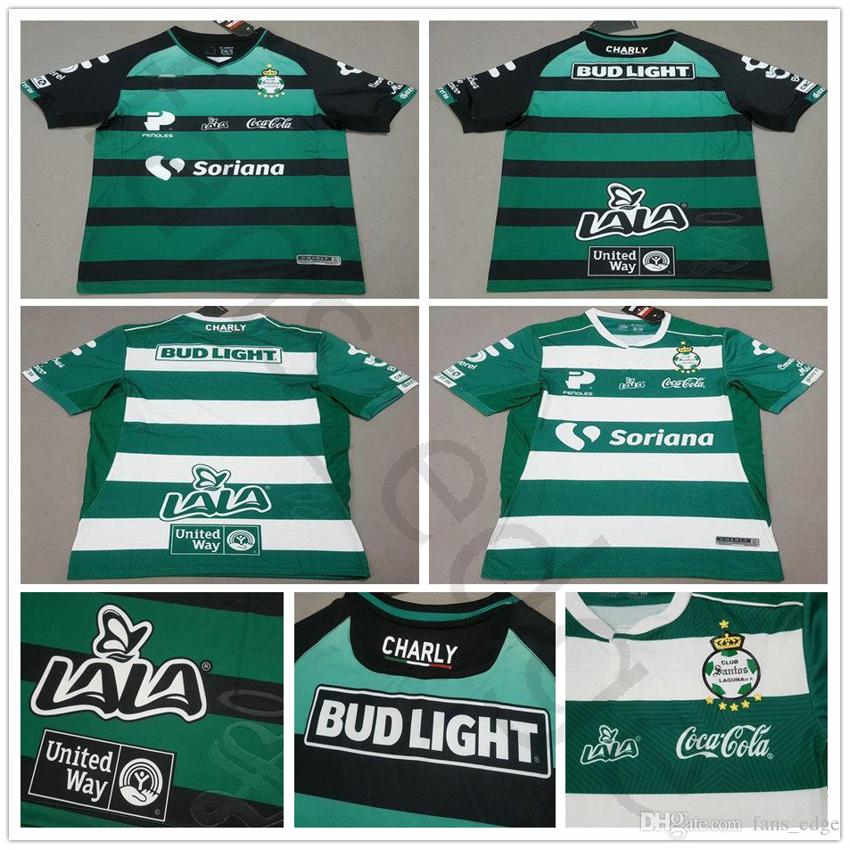 2018 2019 LIGA MX Club Santos Laguna Jersey De Fútbol Home Green Away Black  White Jerseys 18 19 Tailandia Quality Personaliza Adult Football Shirt Por  ... 94c94f8037a9f