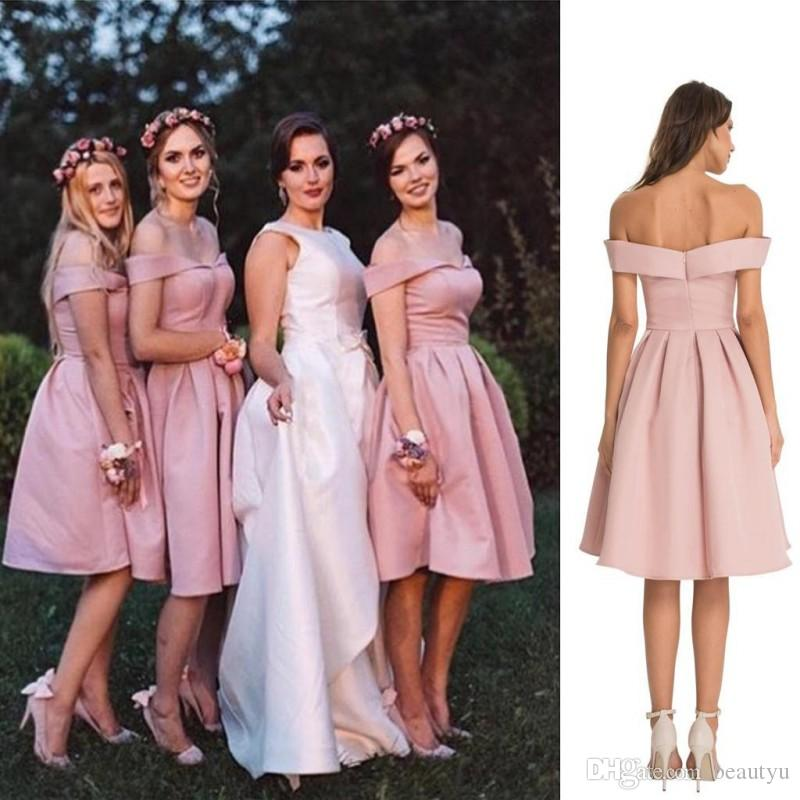 80935df5927 2018 Short Off-Shoulder Bridesmaid Dresses Plus Size A Line Backless Keen Length  Wedding Guest Dress Satin Cheap Maid Of Honor Gowns Bridesmaid Dresses ...