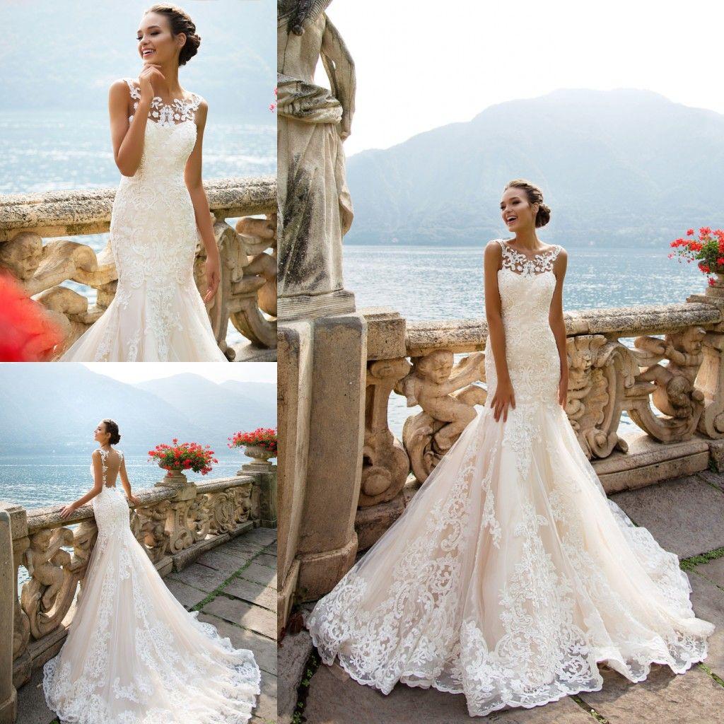 2018 Milla Nova Simple Satin Wedding Dresses 34 Long: Milla Nova 2018 Modest Wedding Dresses Beach Bohemian Lace