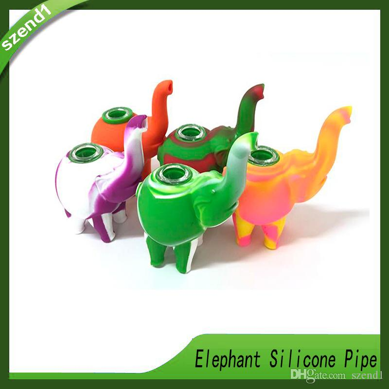 Elephant Silicone Hand Pipe With Glass Bowl Length 123mm Food Grade Silicon  Color Water Pipes Bongs VS twisty glass blunt DHL 0266200