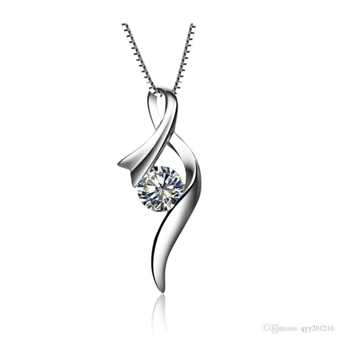 13ba7e466a8b Compre Impresionante 0.5Ct Corte Redondo Diamantes Sintéticos Colgante De  Plata De Ley Collar Colgante De Joyería De Color Oro Blanco Caja De Cadena  Gratis ...