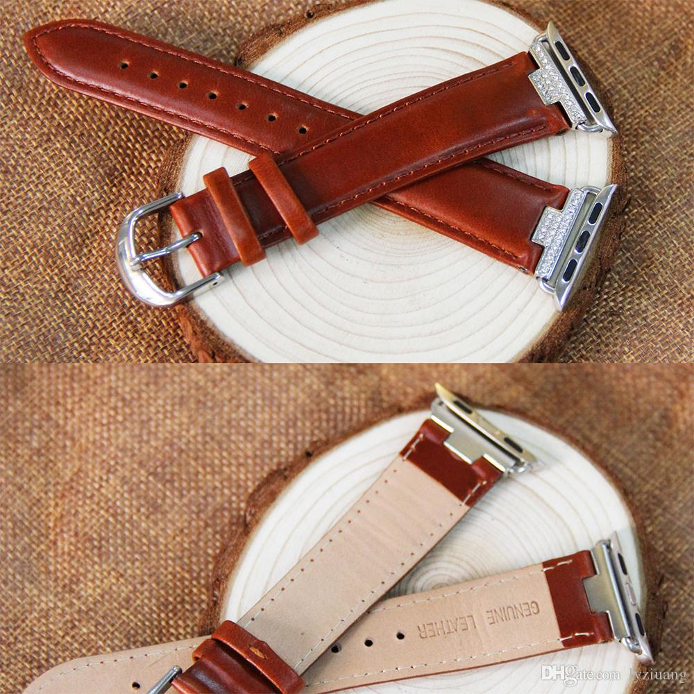 2018 Luxury Genuine Leather Watchband for Apple Watch Leather Band Gold 38mm 42mm Series1 2 3 Strap for Iwatch Band Belt Leather