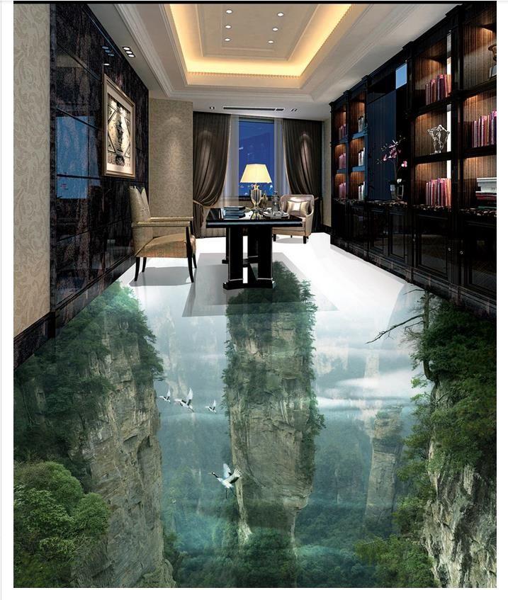 Al por mayor-Custom Photo Floor Wallpaper Fairyland Peak Cliff Sala de estar Cuarto de baño 3D Pisos Ladrillo Autoadhesivo Decoración del piso Pintura
