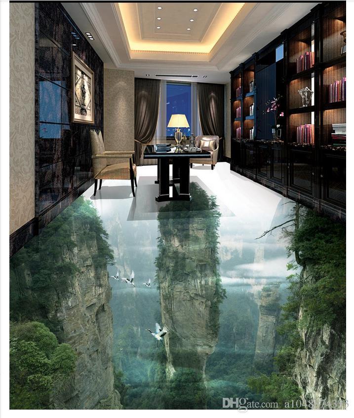 Carta da parati all'ingrosso personalizzata Foto pavimento Fairyland Peak Cliff Soggiorno Bagno Pavimento 3D Mattone Autoadesivo Adesivo pavimenti Pittura