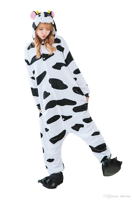8abcc38f Unisex Adultos Disfraces de Halloween Disfraz Disfraz Cosplay Kigurumi  Onesie Pijamas Vaca