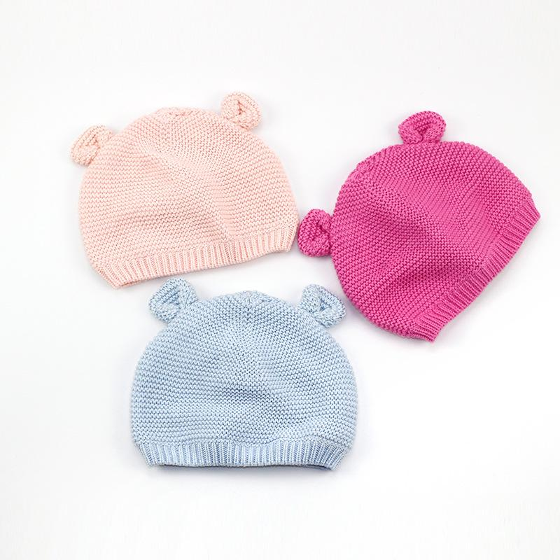 2019 Cotton Cute Baby Beanie Bear Ears Knitted Beanie Hat For Girls Cartoon  Infant Toddler Boys Hat Double Layer Crochet Autumn From Babymom efb120ee173
