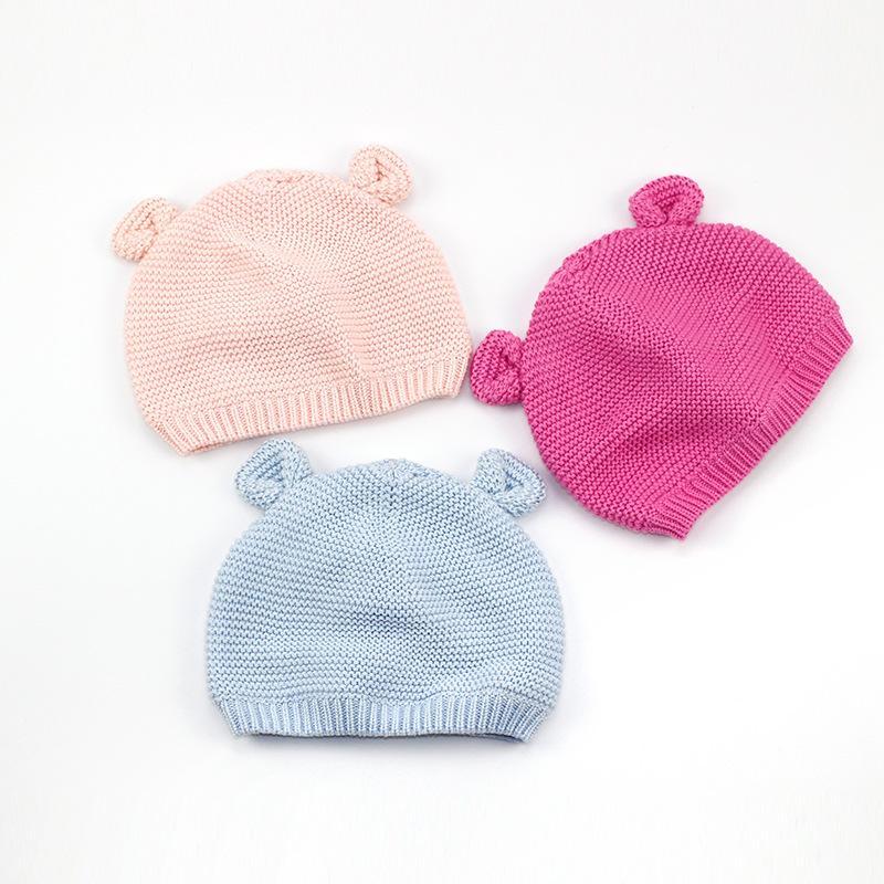 dcdfc67800b Cotton Cute Baby Beanie Bear Ears Knitted Beanie Hat For Girls ...