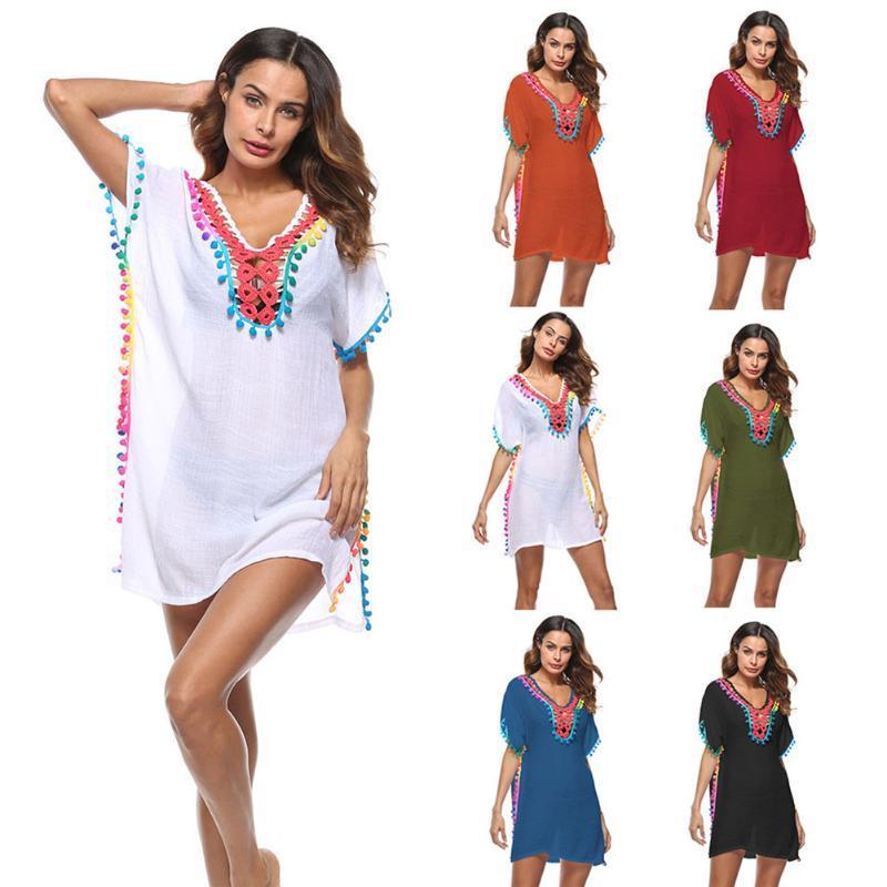7f7f88a30f 2019 2018 Women Sexy Colored Tassel See Through Crochet Tunic Beach Cover Up  Swimwear Summer Bikini Cover Up Swim Beach Dress From Duoyun, $33.34 |  DHgate.